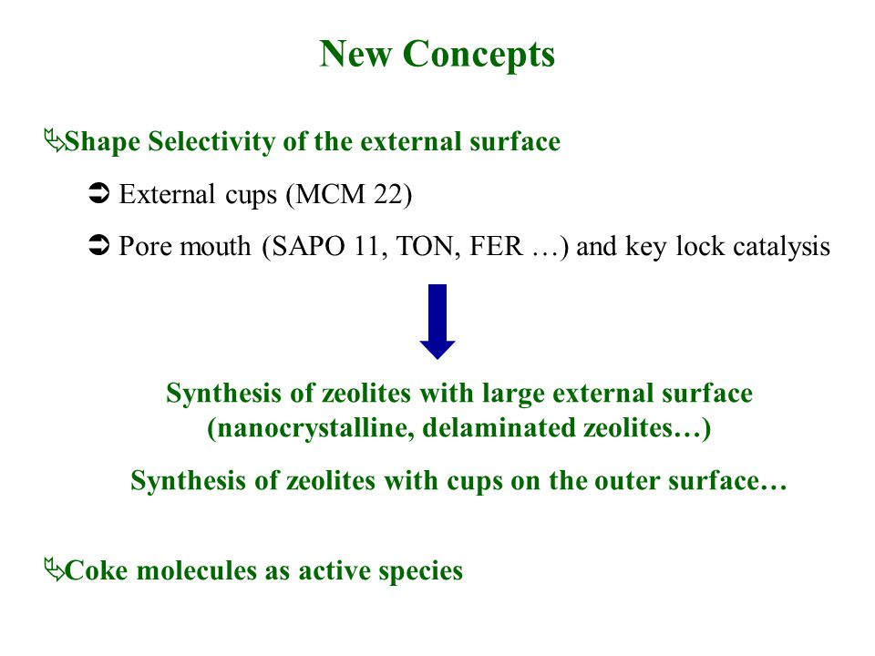New Concepts  Shape Selectivity of the external surface  External cups (MCM 22)  Pore mouth (SAPO 11, TON, FER …) and key lock catalysis  Coke mol