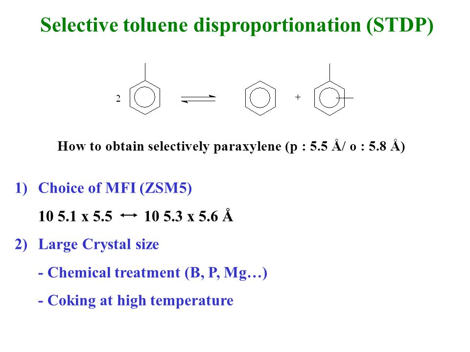 Selective toluene disproportionation (STDP) How to obtain selectively paraxylene (p : 5.5 Å/ o : 5.8 Å) 1)Choice of MFI (ZSM5) 10 5.1 x 5.5 10 5.3 x 5.6 Å 2)Large Crystal size - Chemical treatment (B, P, Mg…) - Coking at high temperature