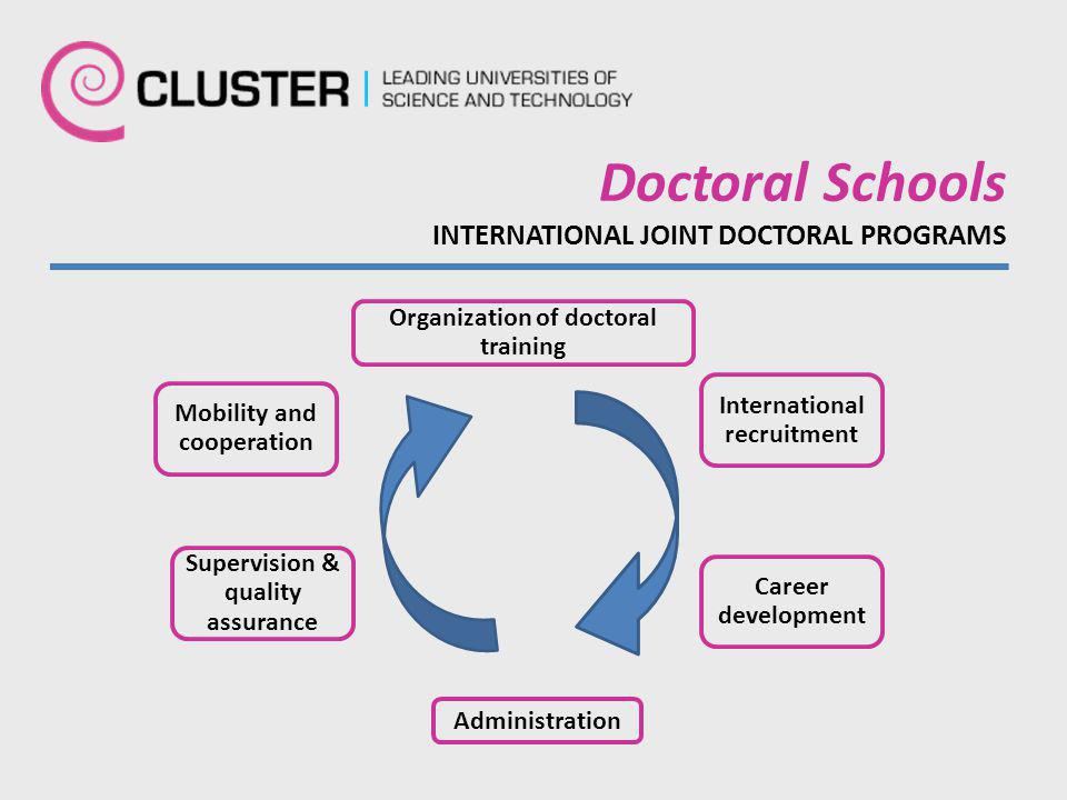 Organization of doctoral training International recruitment Career development Administration Supervision & quality assurance Mobility and cooperation Doctoral Schools INTERNATIONAL JOINT DOCTORAL PROGRAMS