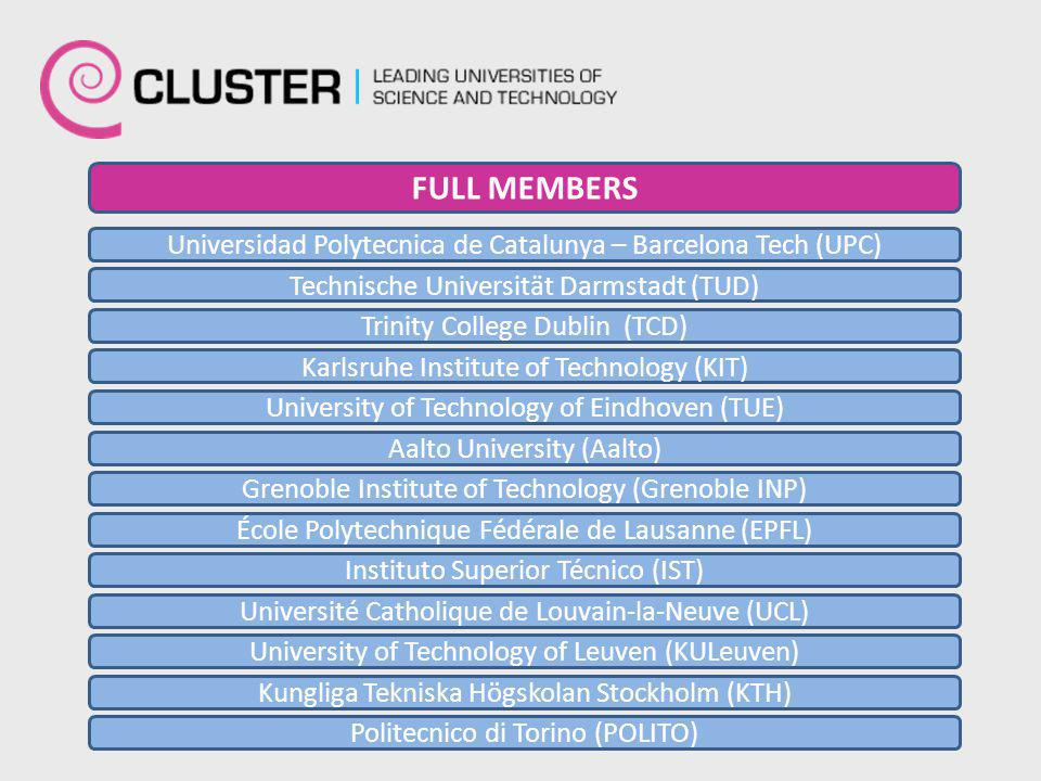 Universidad Polytecnica de Catalunya – Barcelona Tech (UPC) Technische Universität Darmstadt (TUD) Trinity College Dublin (TCD) Karlsruhe Institute of Technology (KIT) University of Technology of Eindhoven (TUE) Aalto University (Aalto) Grenoble Institute of Technology (Grenoble INP) École Polytechnique Fédérale de Lausanne (EPFL) Instituto Superior Técnico (IST) Université Catholique de Louvain-la-Neuve (UCL) University of Technology of Leuven (KULeuven) Kungliga Tekniska Högskolan Stockholm (KTH) Politecnico di Torino (POLITO) FULL MEMBERS
