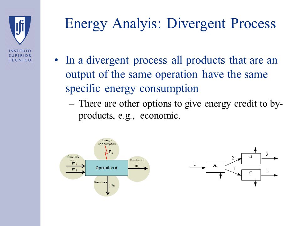 Energy Analyis: Divergent Process What are the energy specific consumptions CE 5 & CE 3 .