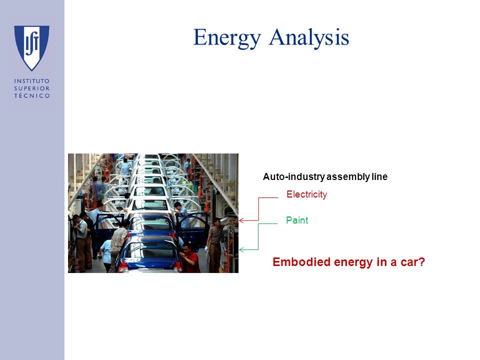 Energy Analysis Definition: the process of determining the embodied energy of a product or service, i.e., the energy required directly and indirectly to produce it –The energy used indirectly might be more important that the energy used directly Auto-industry assembly line Electricity Paint Embodied energy in a car: 270 GJ
