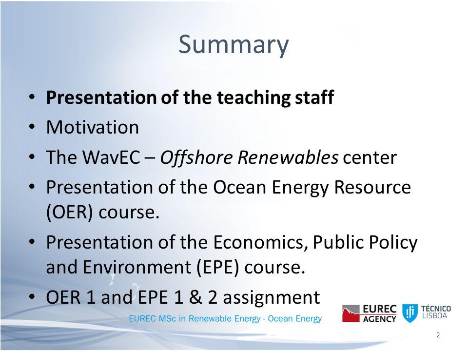 Presentation of the teaching staff Prof.