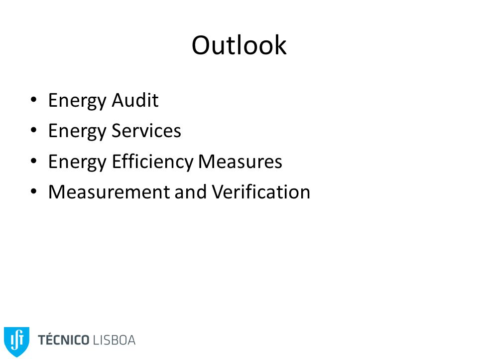 Outlook Energy Audit Energy Services Energy Efficiency Measures Measurement and Verification