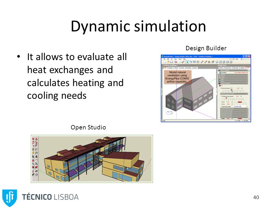 40 Dynamic simulation It allows to evaluate all heat exchanges and calculates heating and cooling needs Open Studio Design Builder