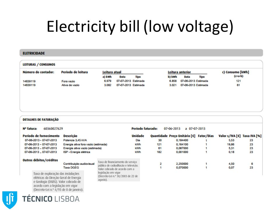 Electricity bill (low voltage)