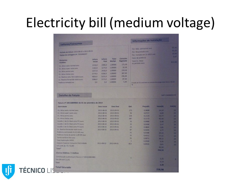 Electricity bill (medium voltage)