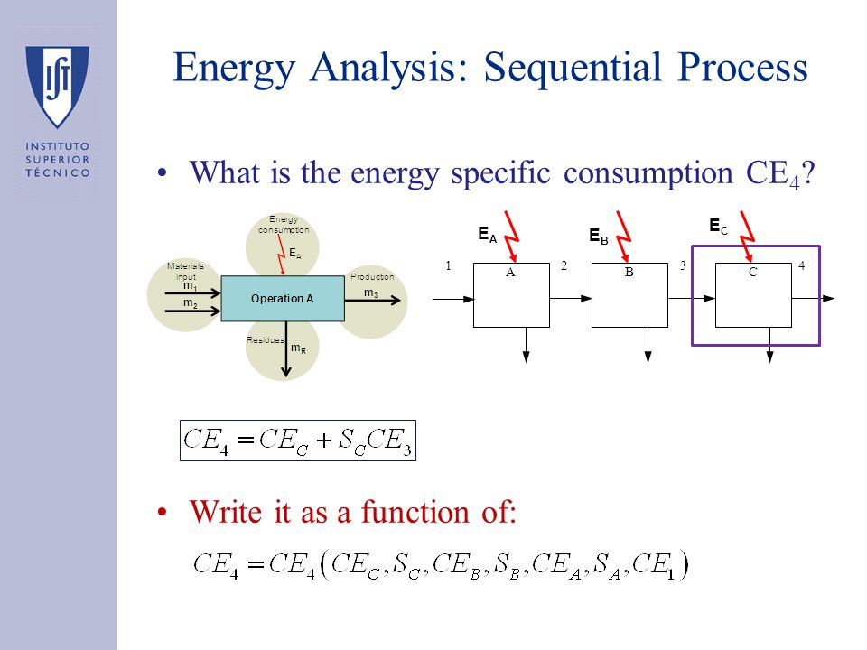 Energy Analysis: Sequential Process What is the energy specific consumption CE 4 ? Write it as a function of: BAC 2341 EAEA EBEB ECEC