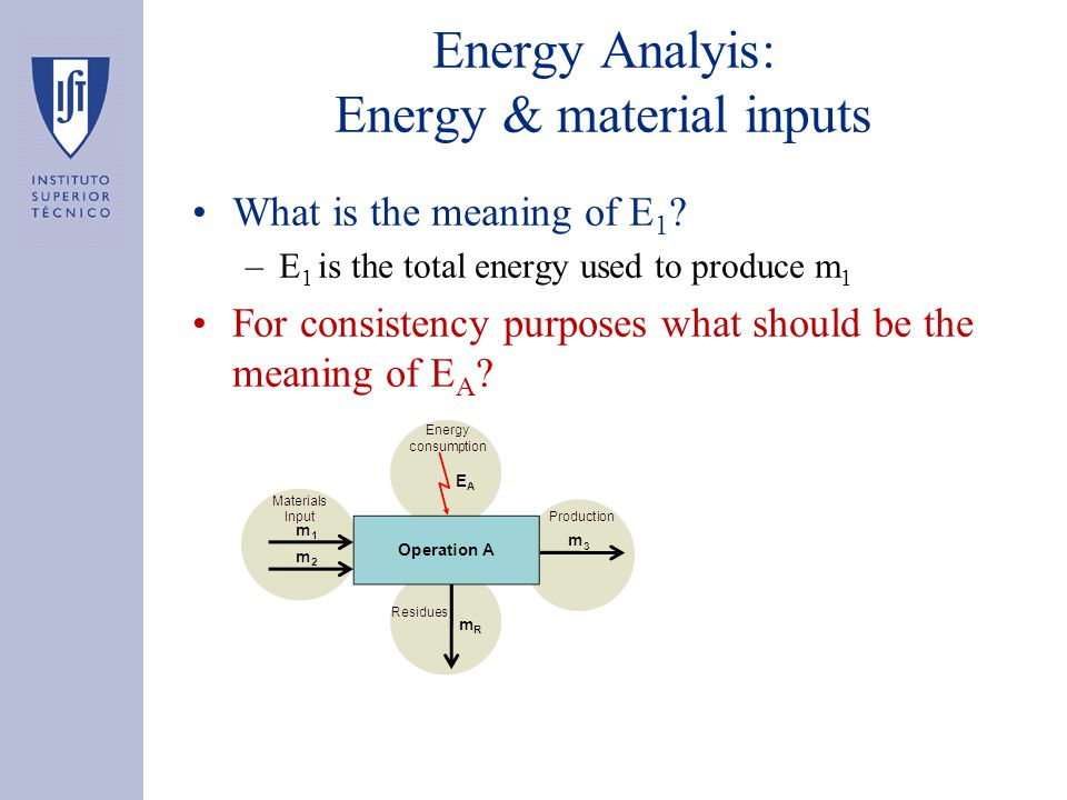 Energy Analyis: Energy & material inputs What is the meaning of E 1 ? –E 1 is the total energy used to produce m 1 For consistency purposes what shoul