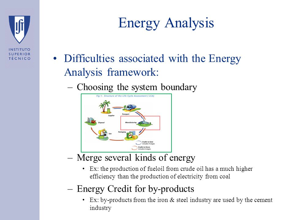 Energy Analysis Difficulties associated with the Energy Analysis framework: –Choosing the system boundary –Merge several kinds of energy Ex: the produ