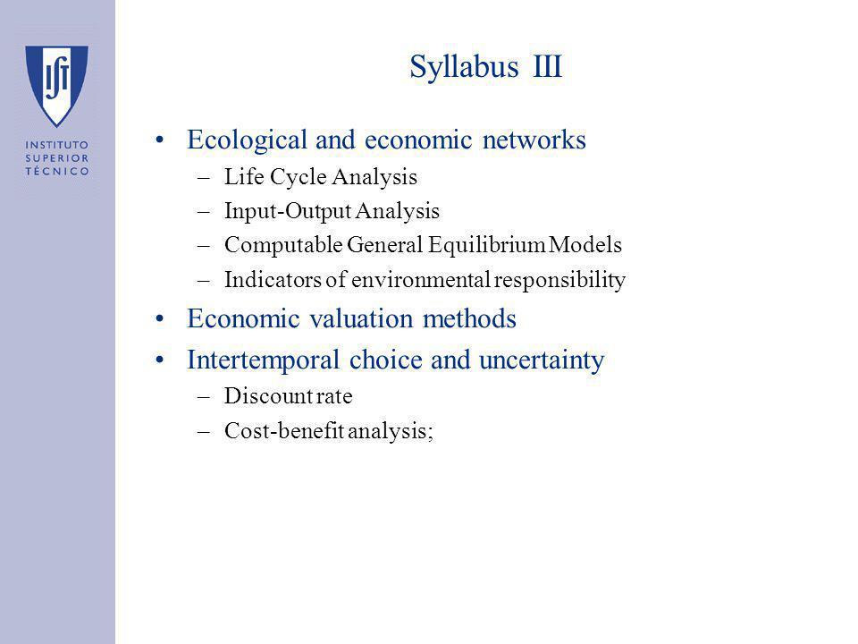 Syllabus IV Sustainable development –Weak vs.