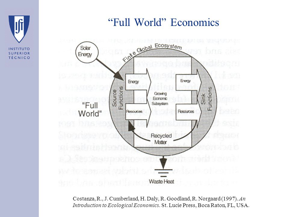 """Full World"" Economics Costanza, R., J. Cumberland, H. Daly, R. Goodland, R. Norgaard (1997). An Introduction to Ecological Economics. St. Lucie Press"