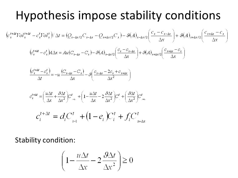 Hypothesis impose stability conditions Stability condition: