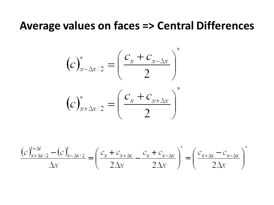 Average values on faces => Central Differences