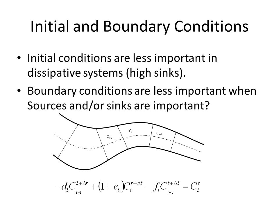 Initial and Boundary Conditions Initial conditions are less important in dissipative systems (high sinks).
