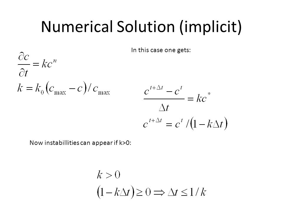 Numerical Solution (implicit) In this case one gets: Now instabillities can appear if k>0: