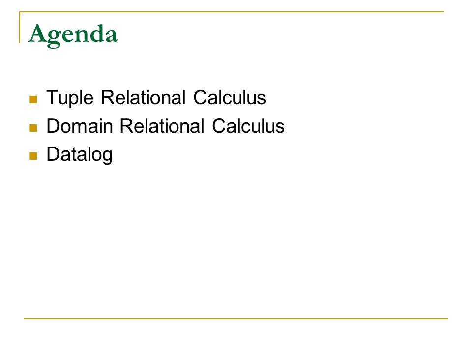 Agenda Tuple Relational Calculus Domain Relational Calculus Datalog
