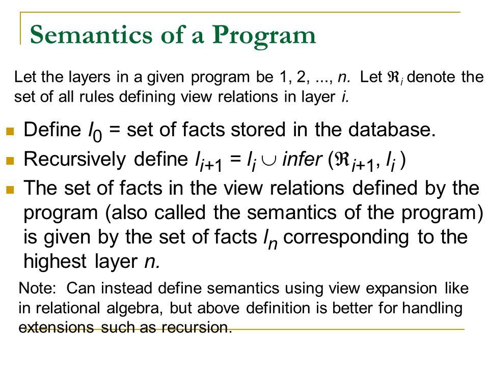 Semantics of a Program Define I 0 = set of facts stored in the database. Recursively define l i+1 = l i  infer (  i+1, l i ) The set of facts in the