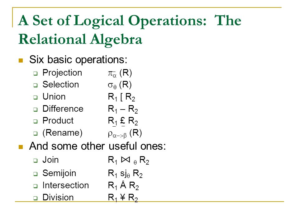 A Set of Logical Operations: The Relational Algebra Six basic operations:  Projection   (R)  Selection   (R)  UnionR 1 [ R 2  DifferenceR 1 –