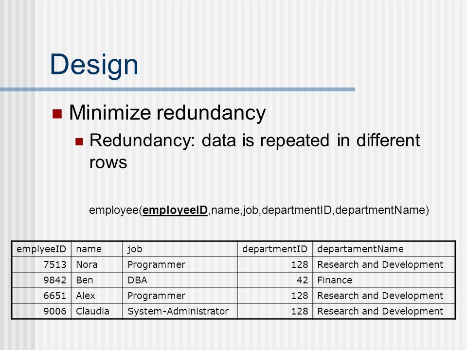 Design Minimize redundancy Redundancy: data is repeated in different rows employee(employeeID,name,job,departmentID,departmentName) emplyeeIDnamejobdepartmentIDdepartamentName 7513NoraProgrammer128Research and Development 9842BenDBA42Finance 6651AlexProgrammer128Research and Development 9006ClaudiaSystem-Administrator128Research and Development