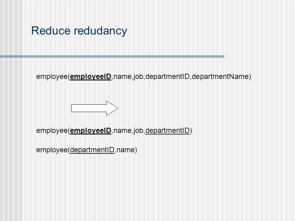 Reduce redudancy employee(employeeID,name,job,departmentID,departmentName) employee(employeeID,name,job,departmentID) employee(departmentID,name)