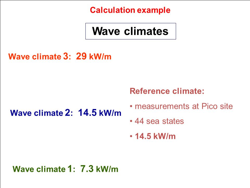 Calculation example Reference climate: measurements at Pico site 44 sea states 14.5 kW/m Wave climates Wave climate 3 : 29 kW/m Wave climate 2 : 14.5 kW/m Wave climate 1 : 7.3 kW/m