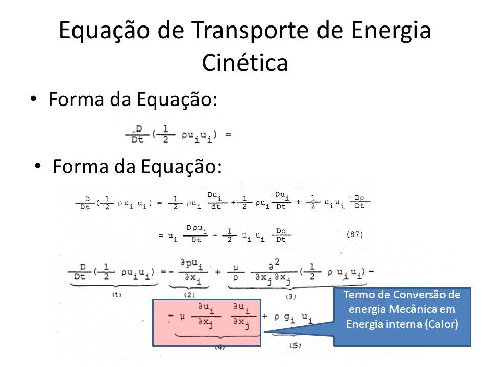Equação de Transporte de Energia Cinética Forma da Equação: Termo de Conversão de energia Mecânica em Energia interna (Calor)