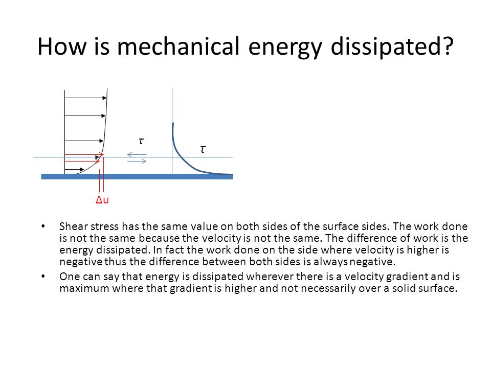 How is mechanical energy dissipated? Shear stress has the same value on both sides of the surface sides. The work done is not the same because the vel