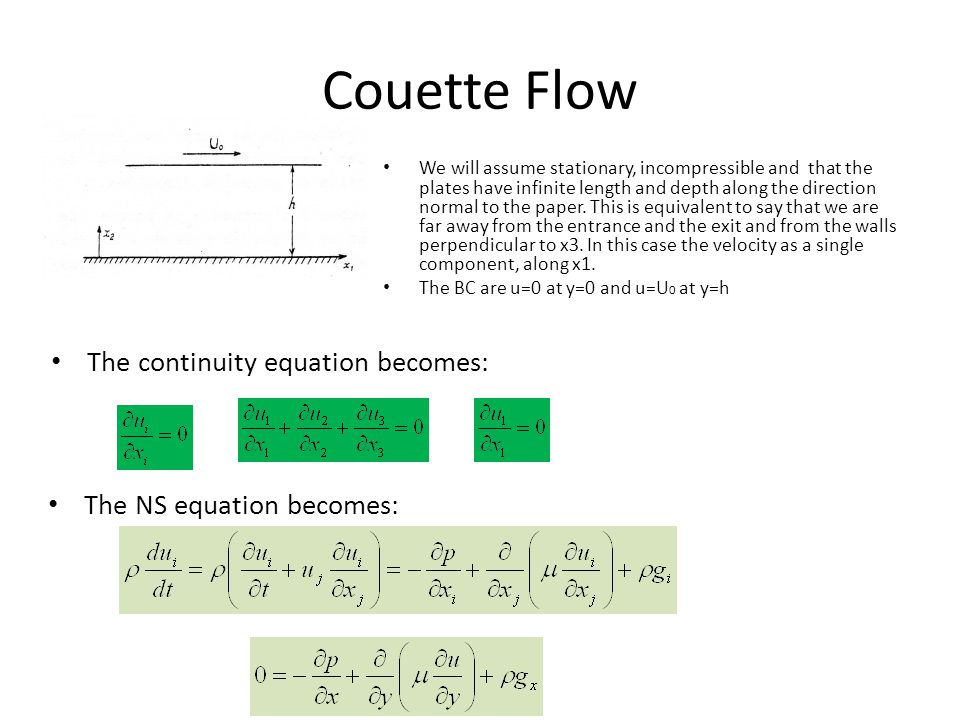 Couette Flow We will assume stationary, incompressible and that the plates have infinite length and depth along the direction normal to the paper. Thi