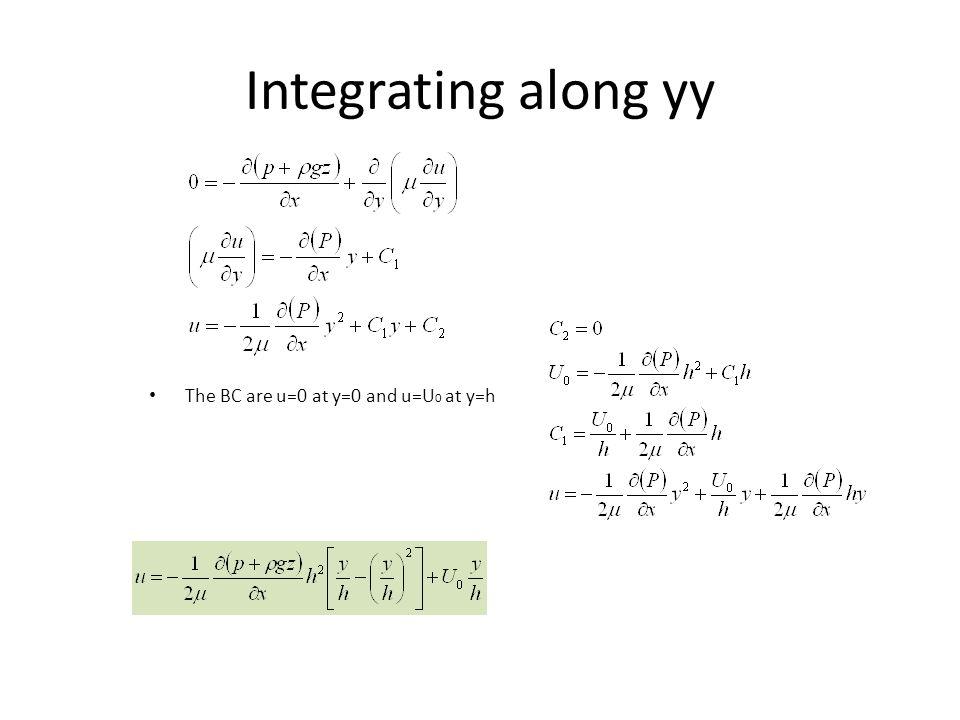 Integrating along yy The BC are u=0 at y=0 and u=U 0 at y=h