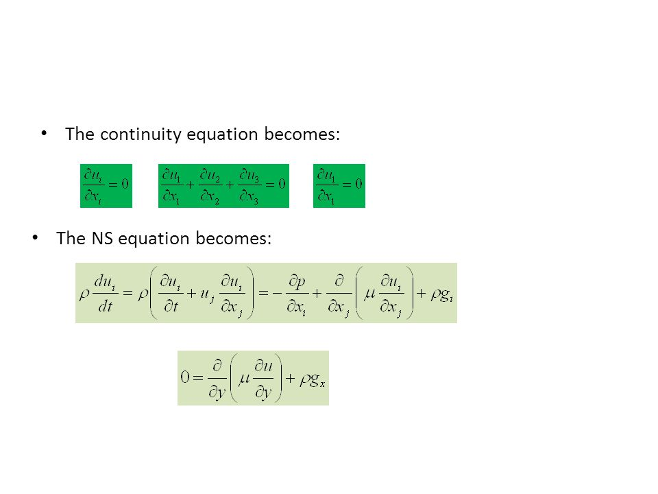 The continuity equation becomes: The NS equation becomes: