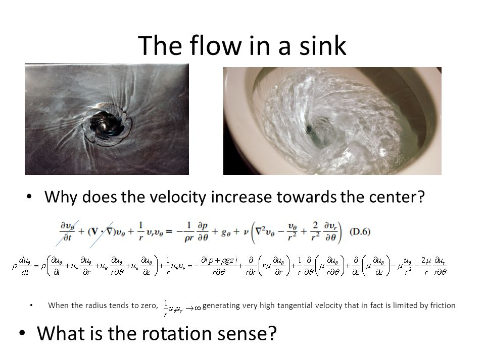 The flow in a sink Why does the velocity increase towards the center? When the radius tends to zero, generating very high tangential velocity that in