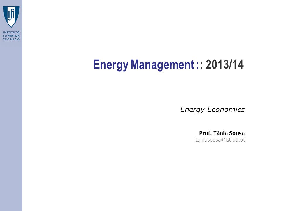 Energy Management :: 2013/14 Energy Economics Prof. Tânia Sousa taniasousa@ist.utl.pt