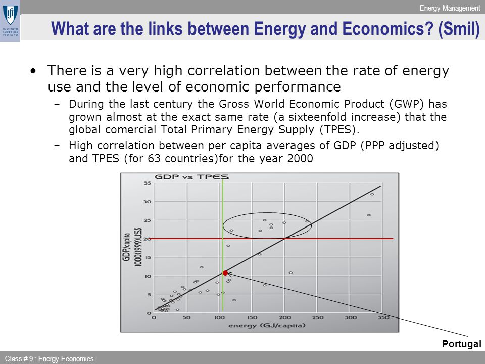 Energy Management Class # 9 : Energy Economics City ON – na energy-economy model The central planner splits income between building power plants, technology development, resources (constant prices) and consumption Households have an utility function that depends on pollution generated by the electricity production sector and useful consumption Transformation between final and useful consumption depends on efficiency A central planner has to keep people happy (high useful consumption + low pollution)