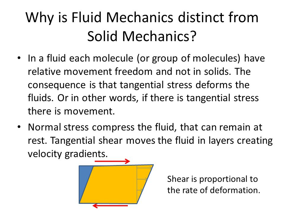 Why is Fluid Mechanics distinct from Solid Mechanics.