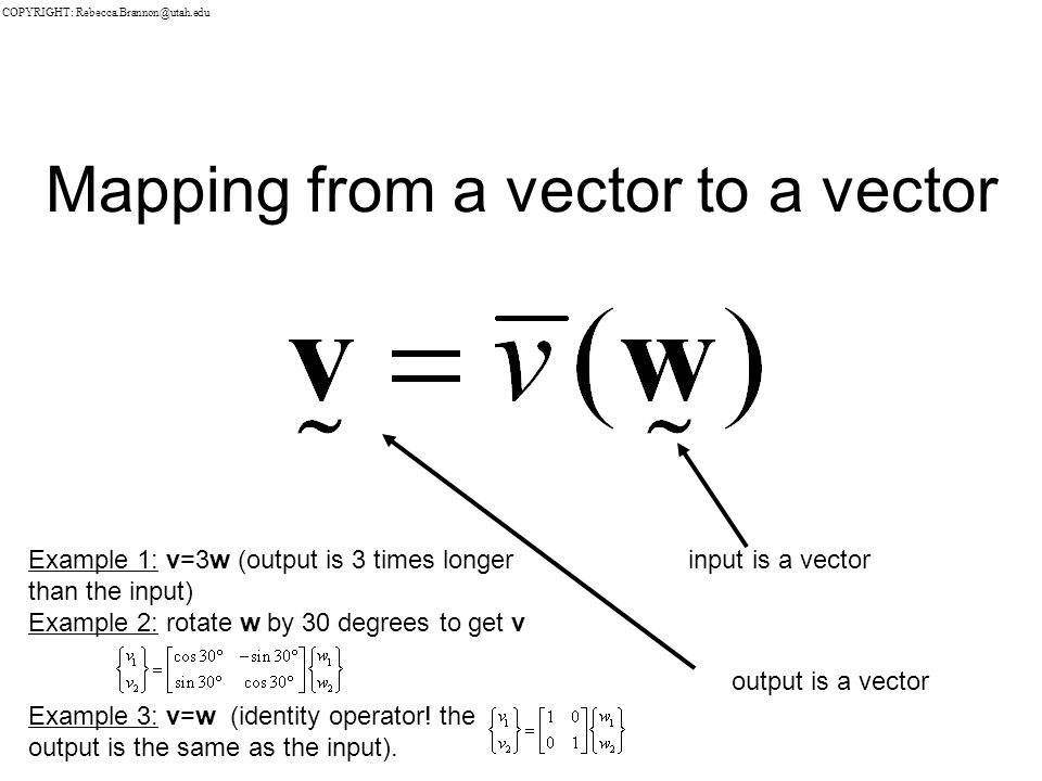Mapping from a vector to a vector input is a vector output is a vector Example 1: v=3w (output is 3 times longer than the input) Example 2: rotate w by 30 degrees to get v Example 3: v=w (identity operator.