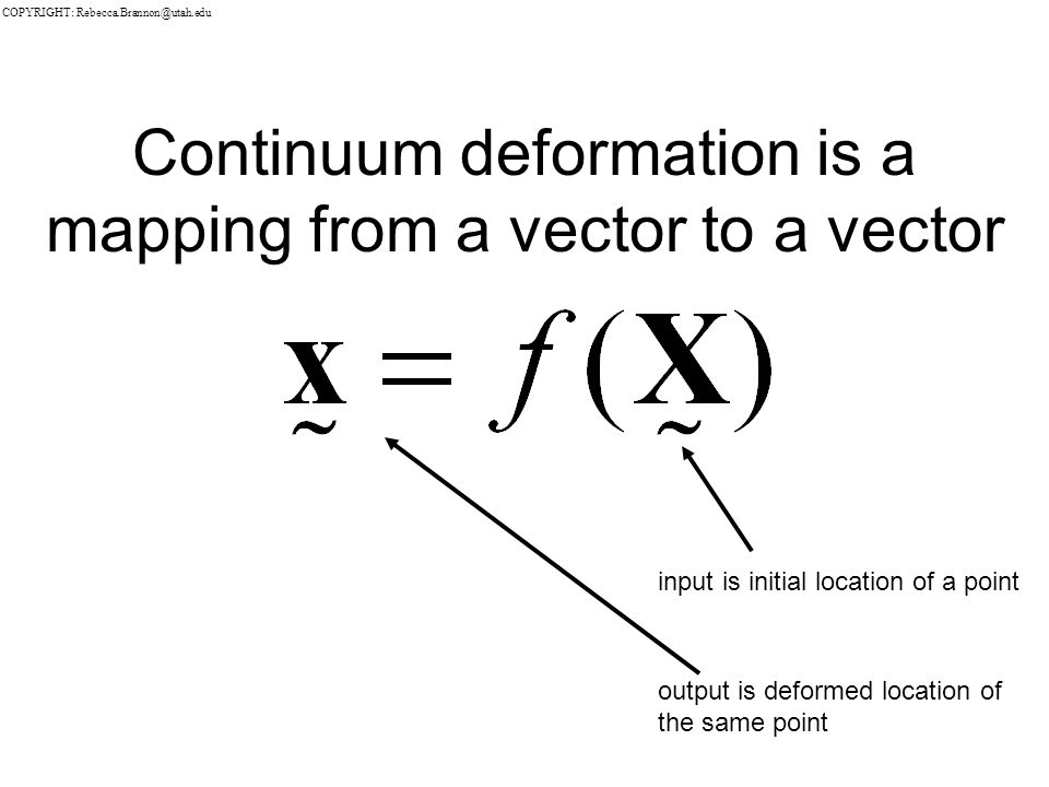 Continuum deformation is a mapping from a vector to a vector input is initial location of a point output is deformed location of the same point COPYRIGHT: Rebecca.Brannon@utah.edu