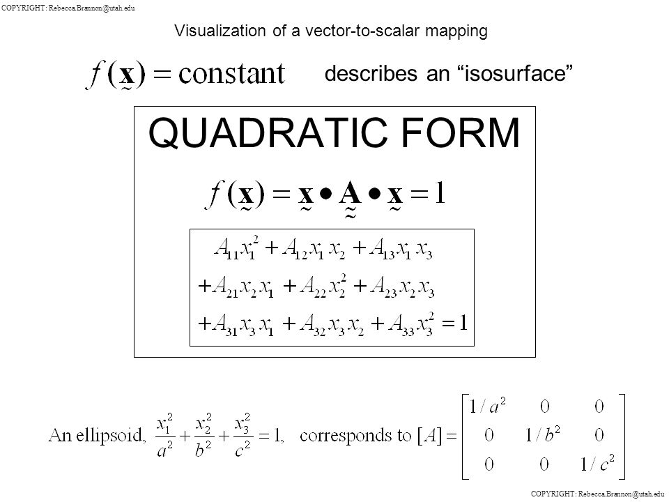 QUADRATIC FORM Visualization of a vector-to-scalar mapping describes an isosurface COPYRIGHT: Rebecca.Brannon@utah.edu