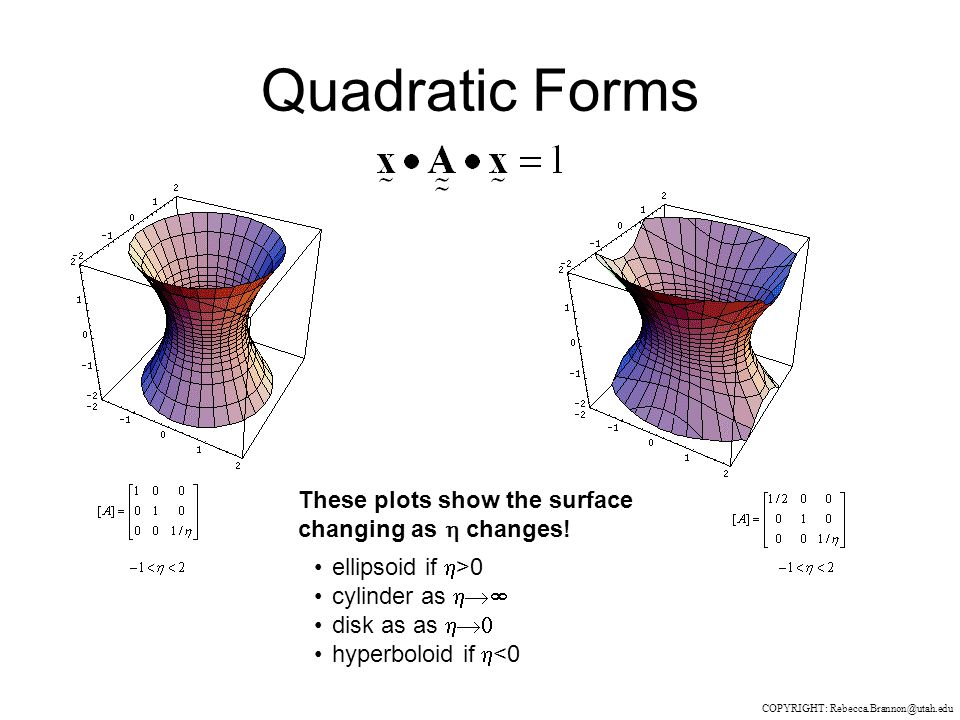 Quadratic Forms COPYRIGHT: Rebecca.Brannon@utah.edu ellipsoid if  >0 cylinder as  disk as as  hyperboloid if  <0 These plots show the surface changing as  changes!