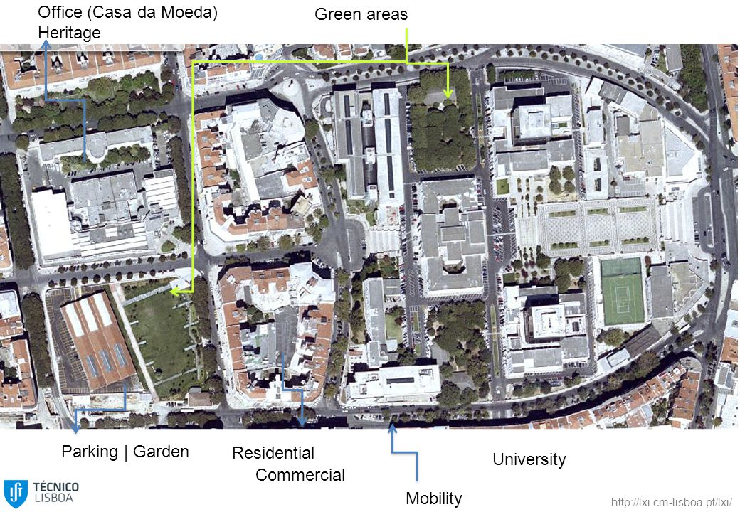 Residential University Parking | Garden Office (Casa da Moeda) Heritage Green areas Commercial Mobility http://lxi.cm-lisboa.pt/lxi/