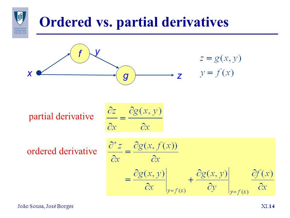João Sousa, José Borges XI.14 Ordered vs. partial derivatives y x f g z partial derivative ordered derivative