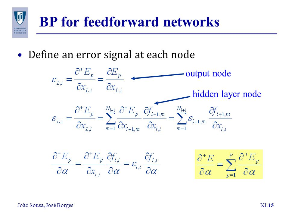 João Sousa, José Borges XI.15 BP for feedforward networks Define an error signal at each node output node hidden layer node