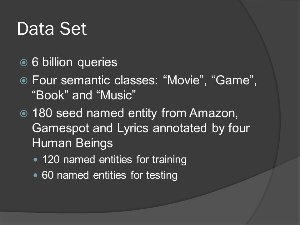 Data Set  6 billion queries  Four semantic classes: Movie , Game , Book and Music  180 seed named entity from Amazon, Gamespot and Lyrics annotated by four Human Beings 120 named entities for training 60 named entities for testing