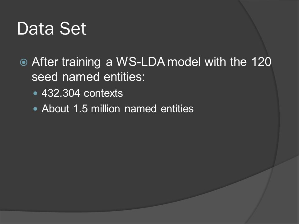 Data Set  After training a WS-LDA model with the 120 seed named entities: 432.304 contexts About 1.5 million named entities