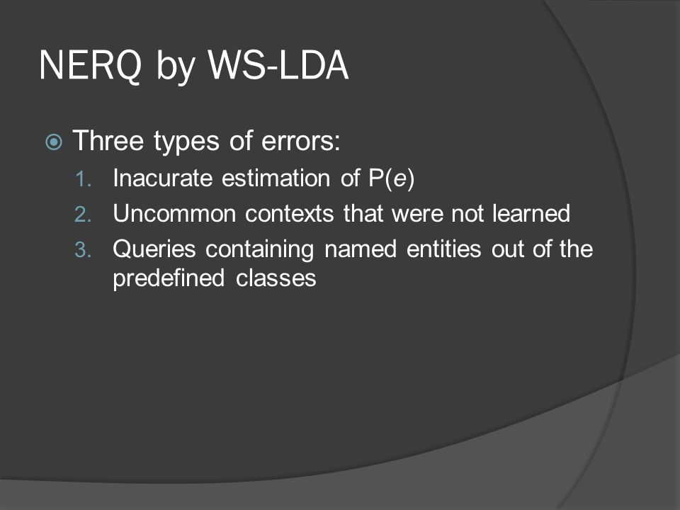 NERQ by WS-LDA  Three types of errors: 1. Inacurate estimation of P(e) 2.