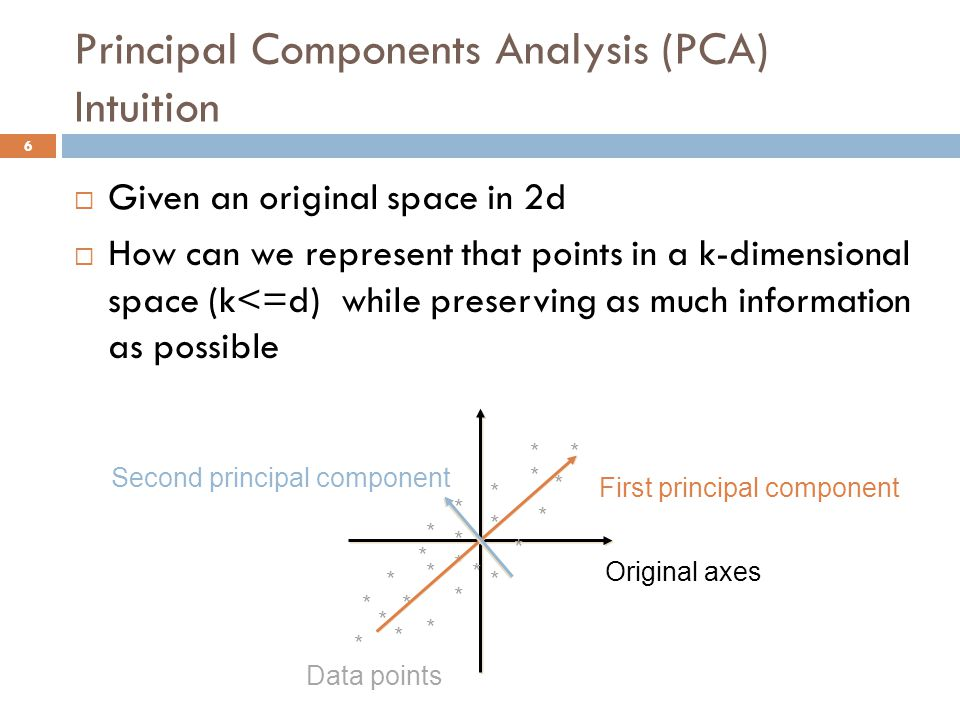 Principal Components Analysis (PCA) Intuition  Given an original space in 2d  How can we represent that points in a k-dimensional space (k<=d) while preserving as much information as possible Original axes * * * * * * * * * * * * * * * * * * * * * * * * Data points First principal component Second principal component 6