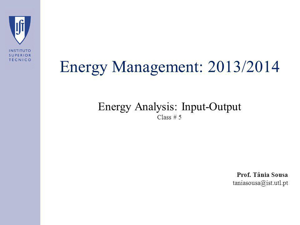 Energy Management: 2013/2014 Energy Analysis: Input-Output Class # 5 Prof.