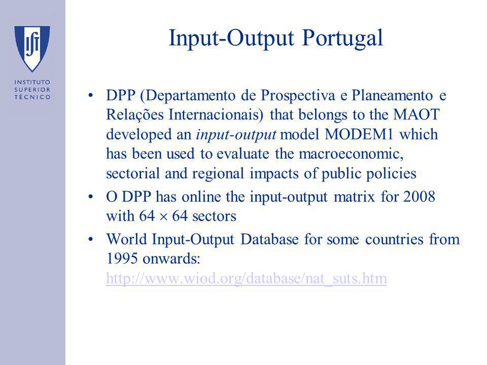 Input-Output Portugal DPP (Departamento de Prospectiva e Planeamento e Relações Internacionais) that belongs to the MAOT developed an input-output model MODEM1 which has been used to evaluate the macroeconomic, sectorial and regional impacts of public policies O DPP has online the input-output matrix for 2008 with 64  64 sectors World Input-Output Database for some countries from 1995 onwards: http://www.wiod.org/database/nat_suts.htm http://www.wiod.org/database/nat_suts.htm