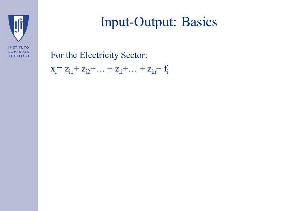 Input-Output: Basics For the Electricity Sector: x i = z i1 + z i2 +… + z ii +… + z in + f i