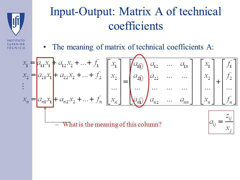 Input-Output: Matrix A of technical coefficients The meaning of matrix of technical coefficients A: –What is the meaning of this column